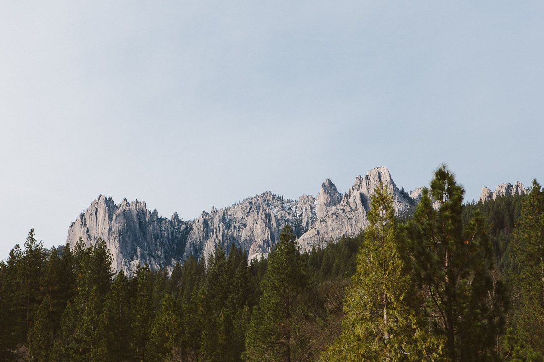 Castle Crags is easy to miss, but just off I-5.  I hiked up a trail to the top when I was a kid, but never got a photograph.  This parking lot shot is better anyways.