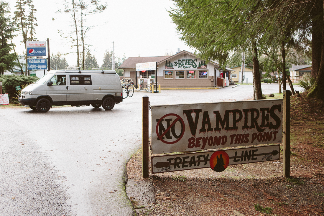 I honestly didn't know what was going on when I drove past this sign. Out in the Washington countrythere was a lot of weird redneck stuff going on, but this was just too bizarre. It turns out this is where they filmed the Twilight Saga movies, and lots offans visit.