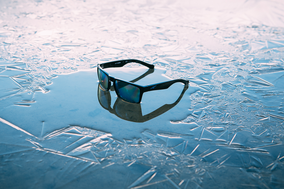 The water's edge had an amazing thin ice layer, making a super unique product shot. To check out the details of this Arnette sunglass-  CLICK THIS