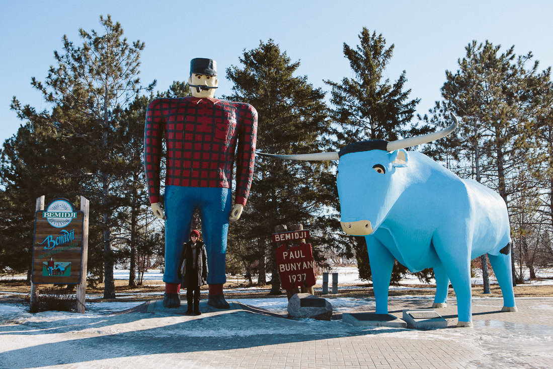 Up in the far north of Minnesota is Bemidji where I visited my friend  Terese .   There's a classic Paul Bunyan & Babe the Blue Ox monument next to the lake.  Even though it's not as detailed as Mt Rushmore, it's still a great statue.