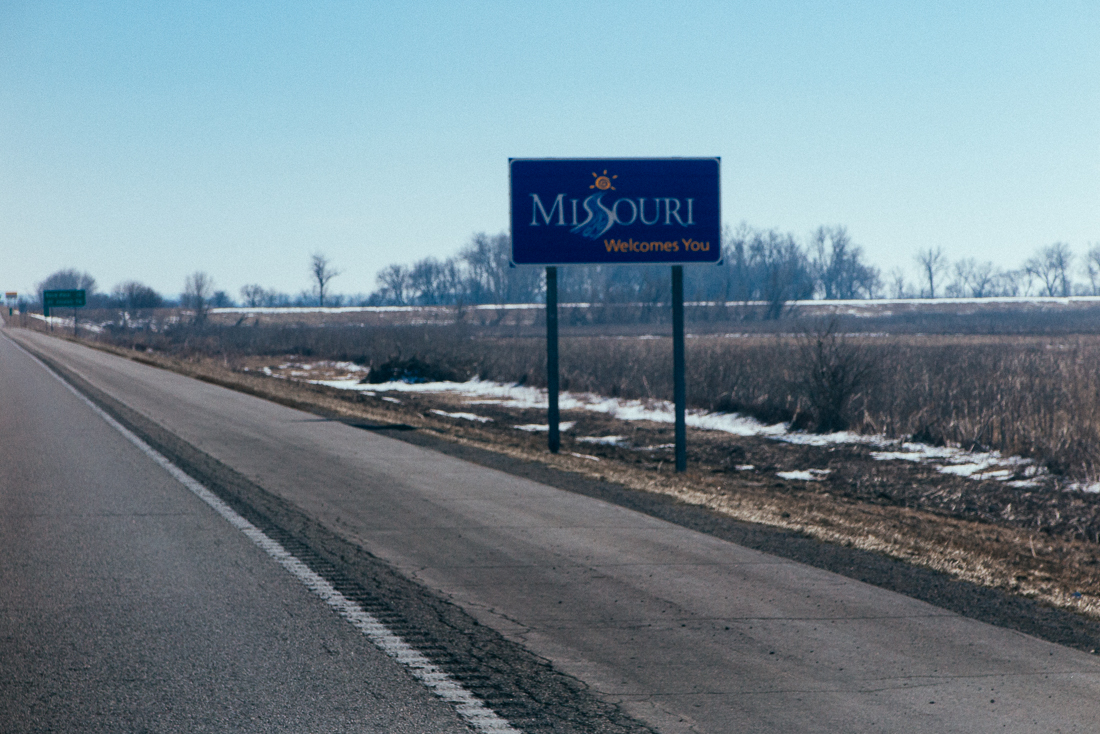 The Missouri board of tourism is slacking.  Thanks for the welcome, but you could come up with a better state slogan than this.