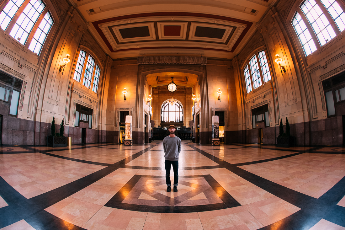 Day 72 / Mile 8370 .  This beautiful building is the interior of the Kansas City Union Station.  This place use to be full of people 'back in the day' when traveling by train was more common.