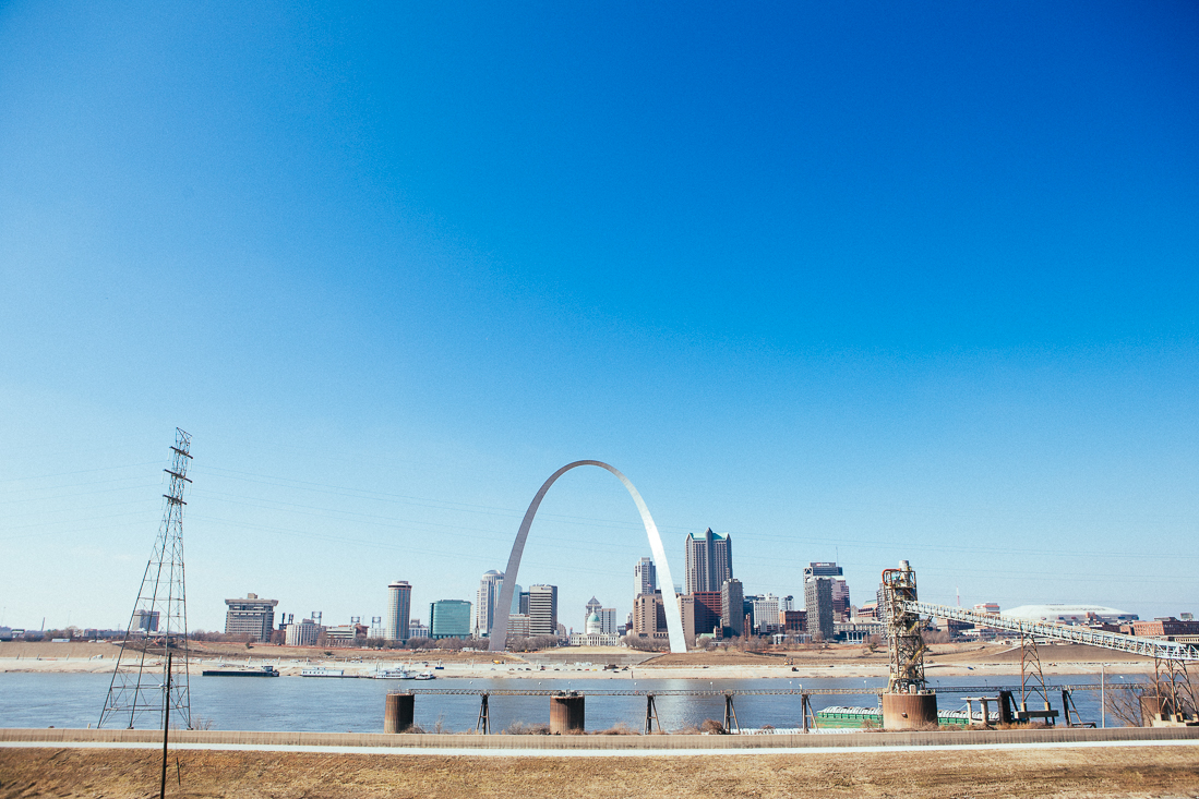 Day 76 / Mile 8735 .  The Gateway Arch on the Mississippi River.