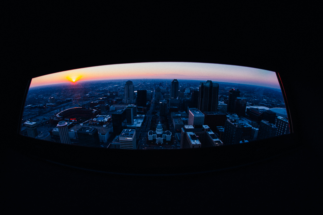 Perfect timing for the sunset over St Louis.