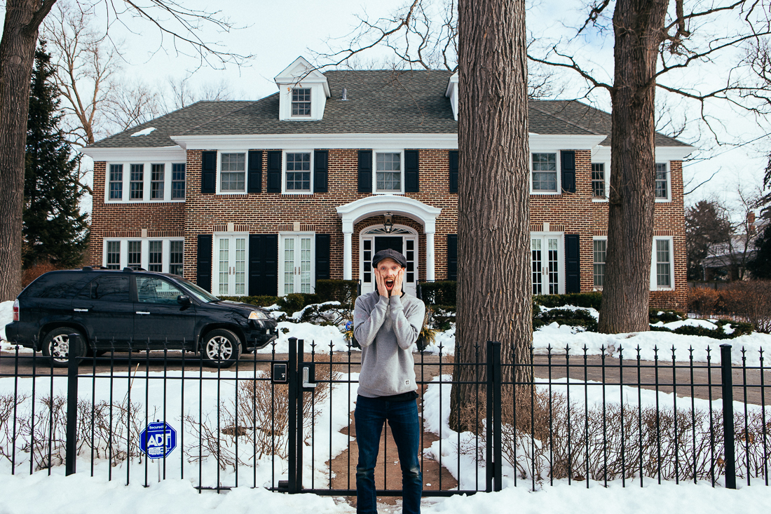 I went by Macaulay Culkin's house, but he couldn't have visitors over because he was HOME ALONE!