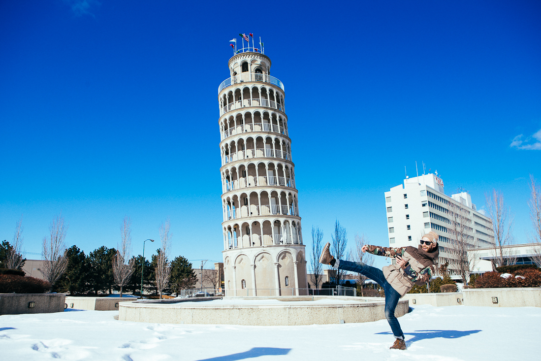 I was full of energy and the 1stthing I did when I got intownwas Chuck Norris roundhouse kickthat tower. HIYA!