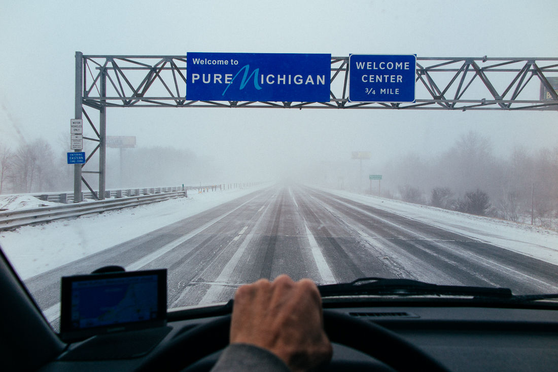 Day 79 / Mile 9240. I hit a pure Michigan blizzard goingNorth. The streets were cold and slick, but mycoffee was hot for hoursthanks to my  Stanley  thermos.