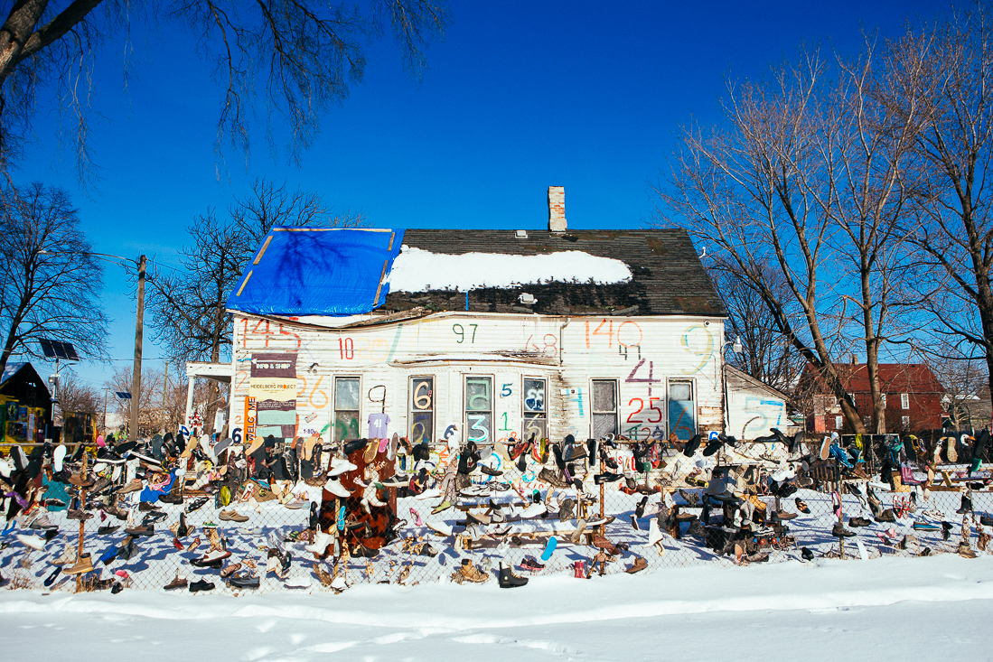 The first spot I checked out in Detroit was the Heidelberg project. For a couple decades a local manhas been attempting to transform a run down inner city neighborhood into a more welcoming area.
