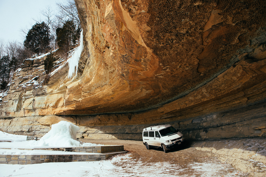 """To end this story on a lighter note, I went to this waterfall that you can drive behind, but the dang thing was frozen into icicles! haha, it was only a hundred miles out of my way, but you know what they say, """"It's all about the journey, not the destination""""!"""