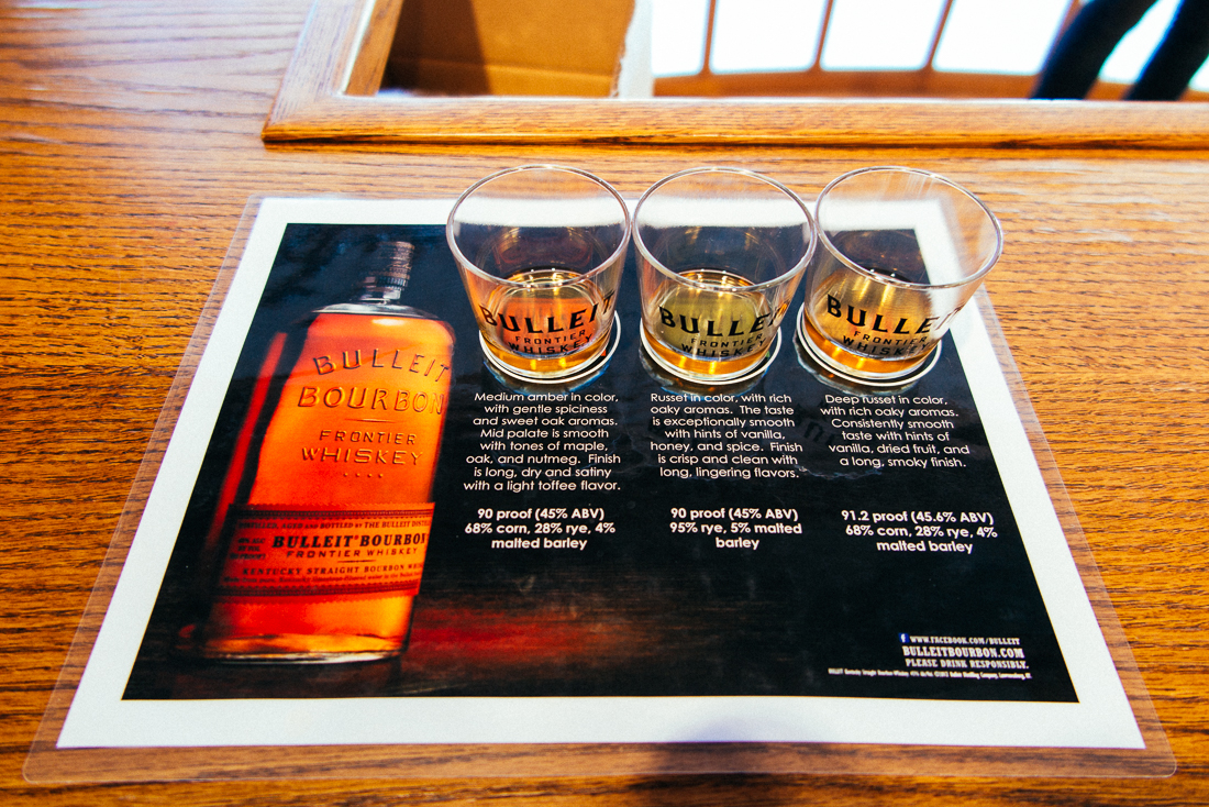 A sampling of their line.  Bourbon, rye, and a limited 10-year bourbon.  ...mmmm.