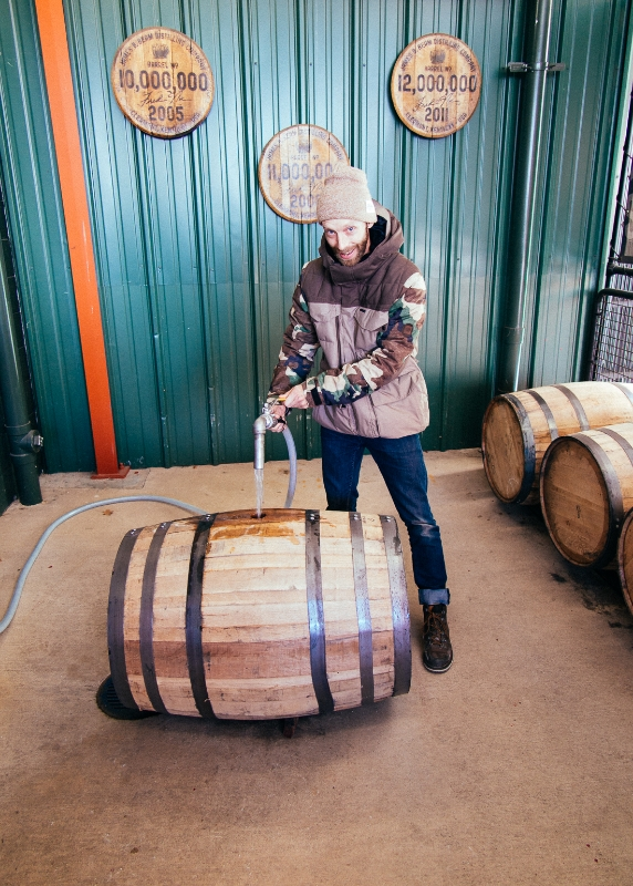 Here I'm pouring fresh bourbon into a cask to be aged.  Yeah I took a taste, and it needs a few years until I'm ready for it.