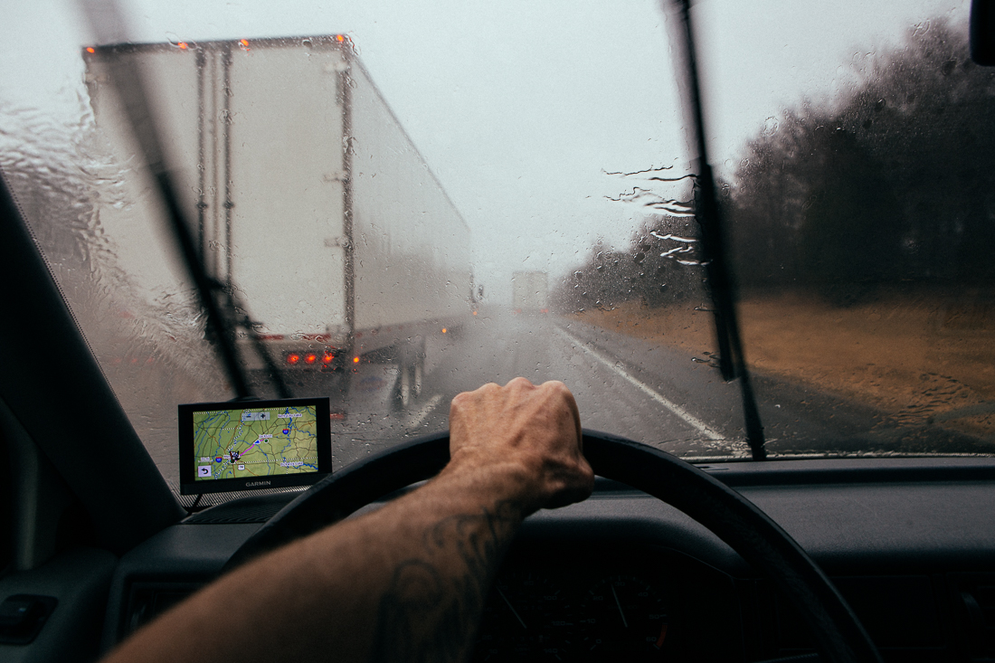 The weather turned the next morning and was raining heavily, but didn't phase the speeding truckers.