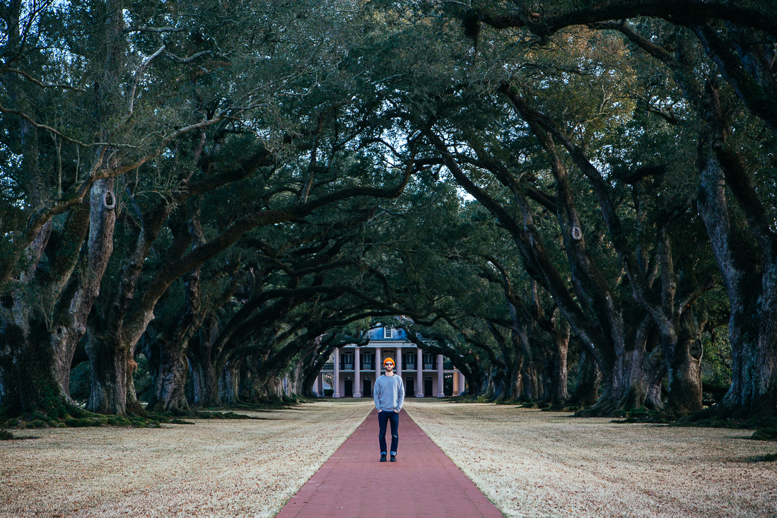 This self-portrait at the Oak Alley Plantation came out really great, with just a touch of sun hitting me before it set.  It was a beautiful property, but has an ugly history of slavery.
