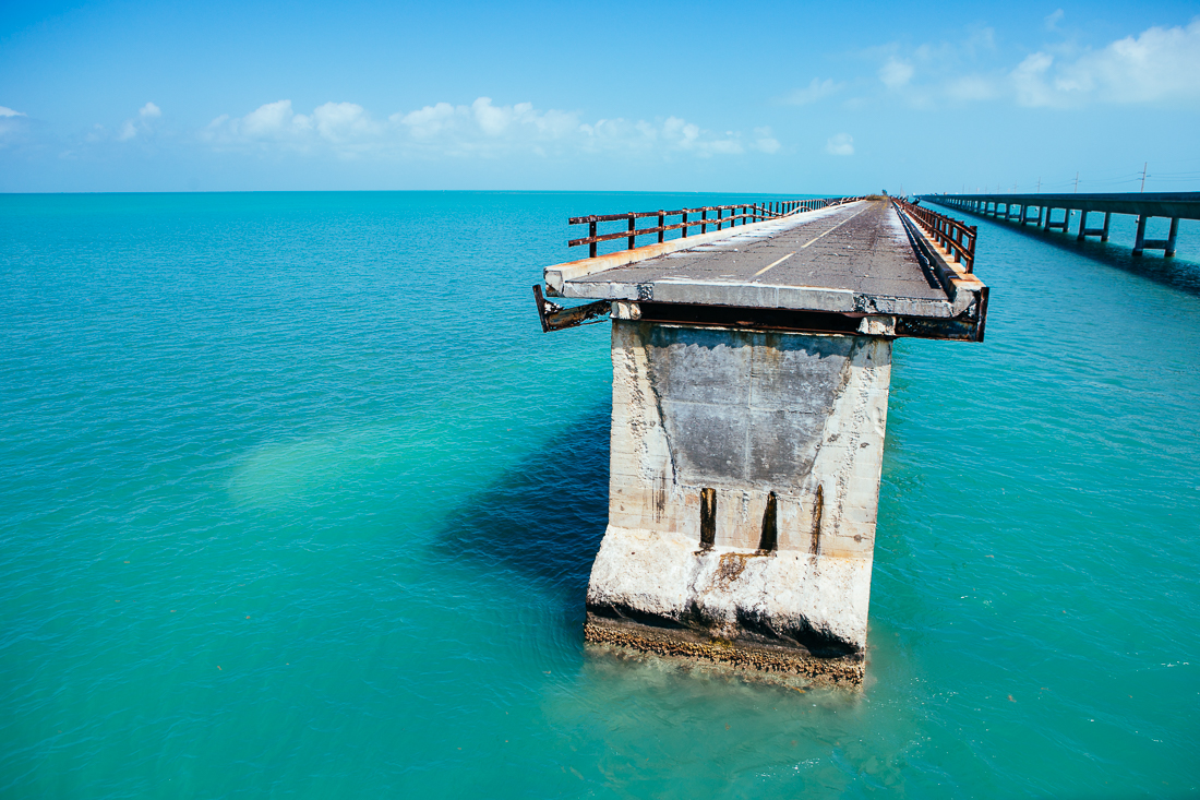 I headed down along the Keys, and biked to the edge of an abandoned stretch of highway. The color of the water down here is so insanely cool.