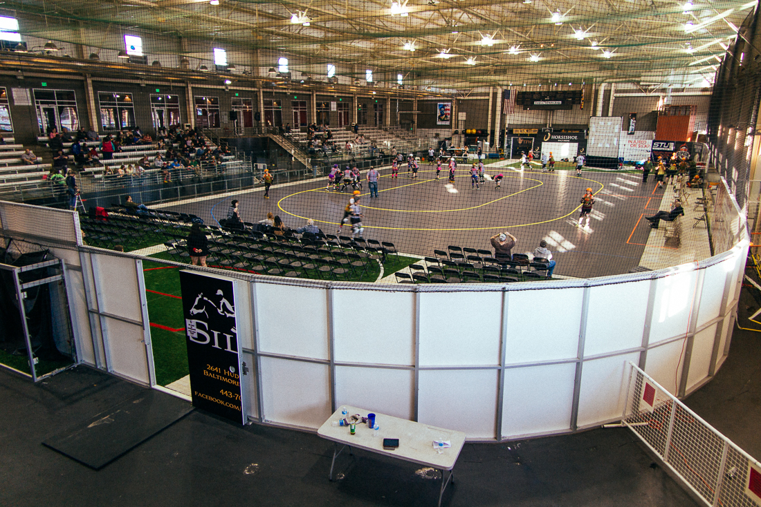 The Charm City Roller Girls flat track. We got there early for a good seatbefore the stands filled up.