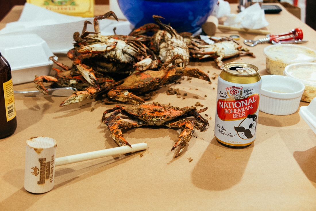 Linda couldn't let me leave without a traditional Maryland meal, a hugebag of crabs andNatty Bo.