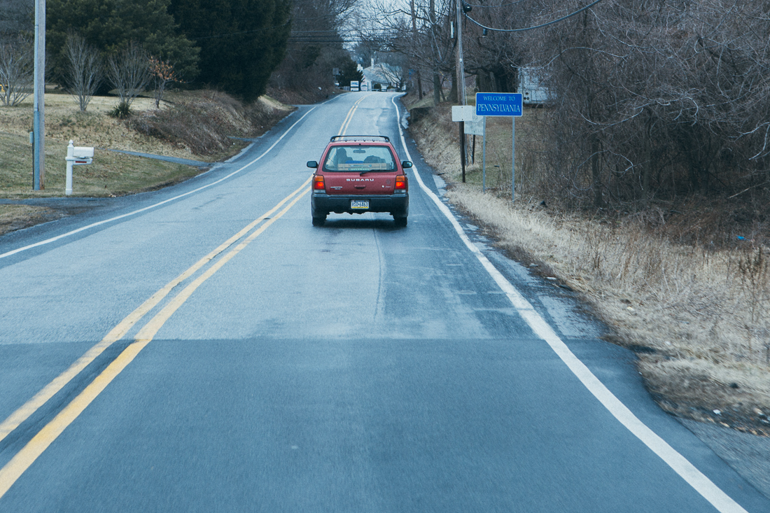 Ouch, harsh road quality change going into Pennsylvania. You'd think since they tax your shopping experience they could afford to tune up theroads, eh?