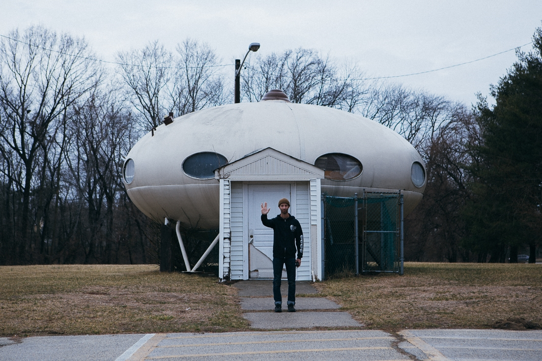 There are something like 50Futuro Houses left in the world, which weremade back in the 1960's. This one here was transformed intoa park maintenance building with that heinous doorway.  Anyways, RIP Spock.