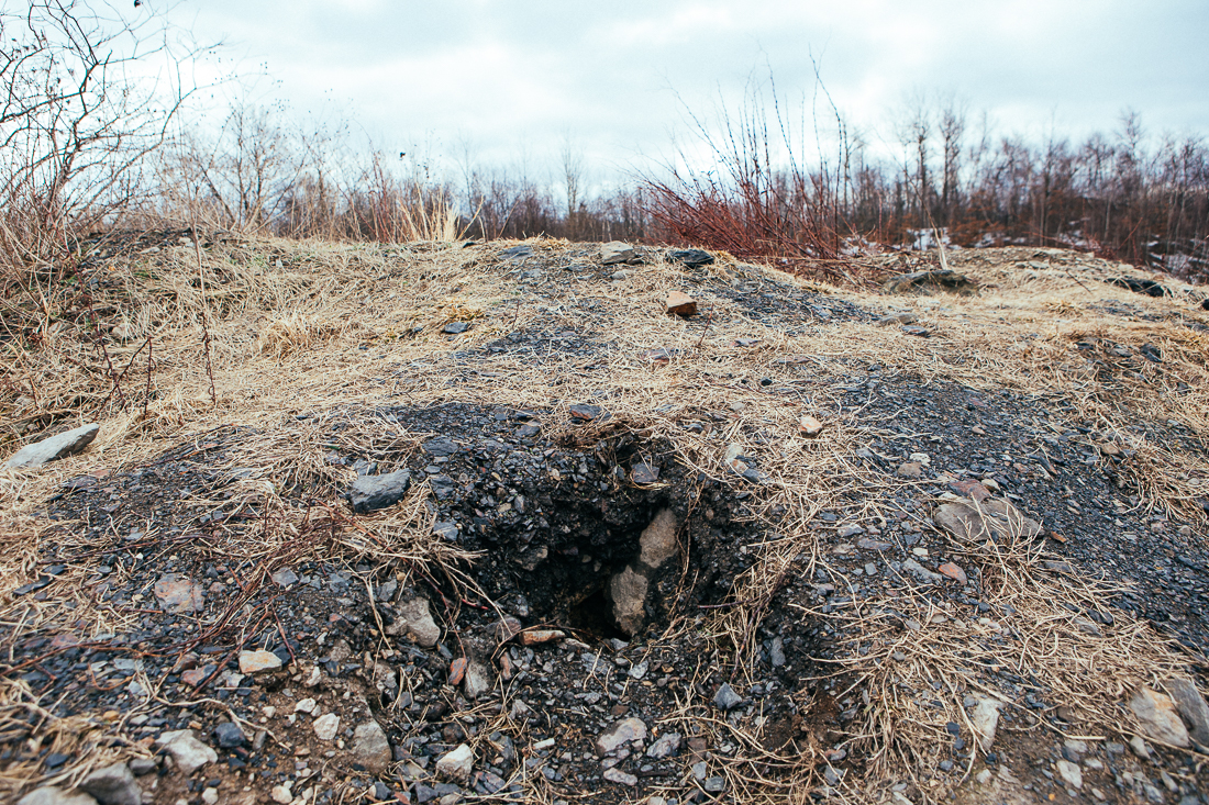 It was too windy to show in a photo, but deadly gas was steaming out of this hole.
