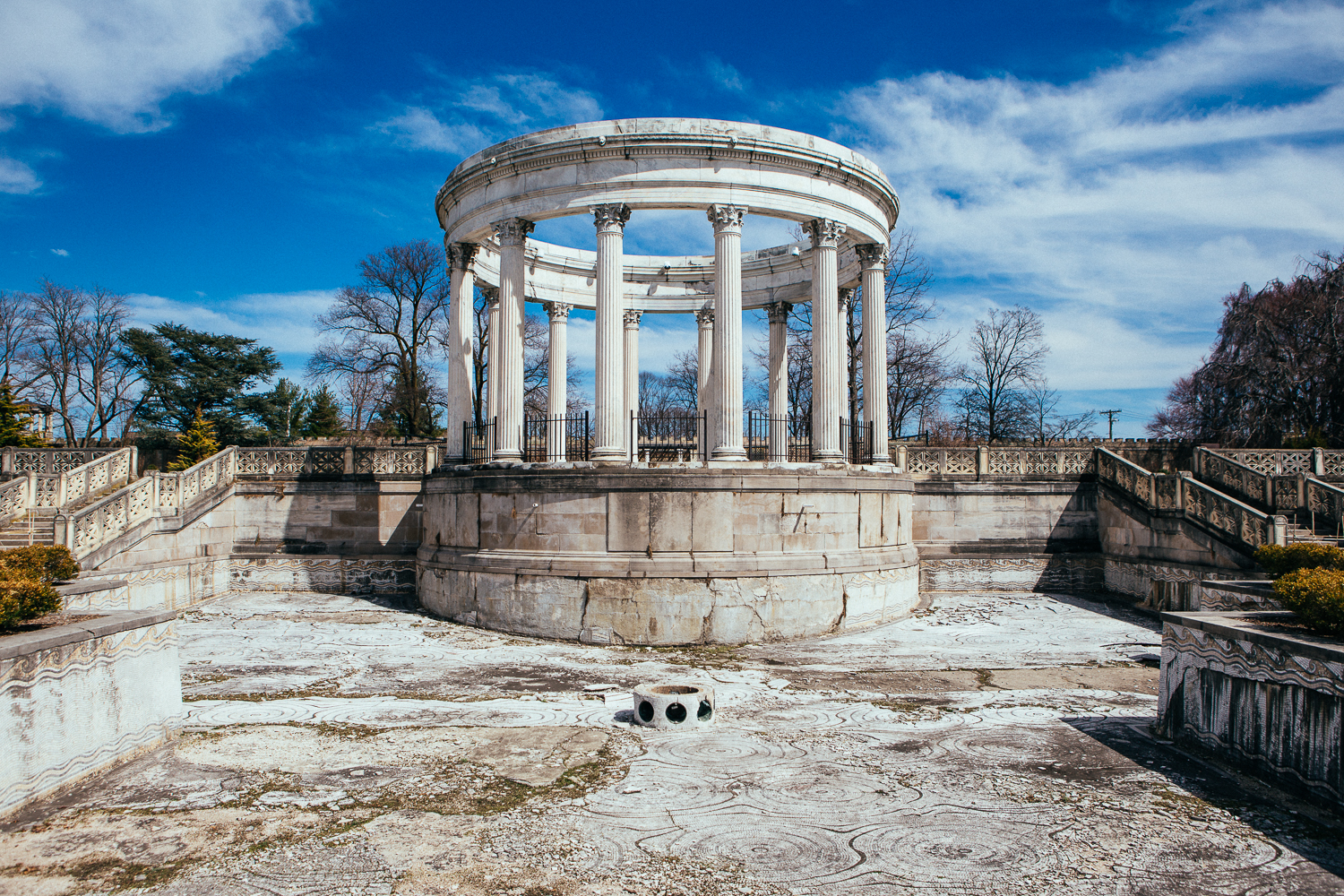 It wasneglected during the 70's and became a place of Satanic worship. That's gross, but it wasa good choice for them, those are 2000 year old pillars that were imported from Italy and amazing to hang out at.