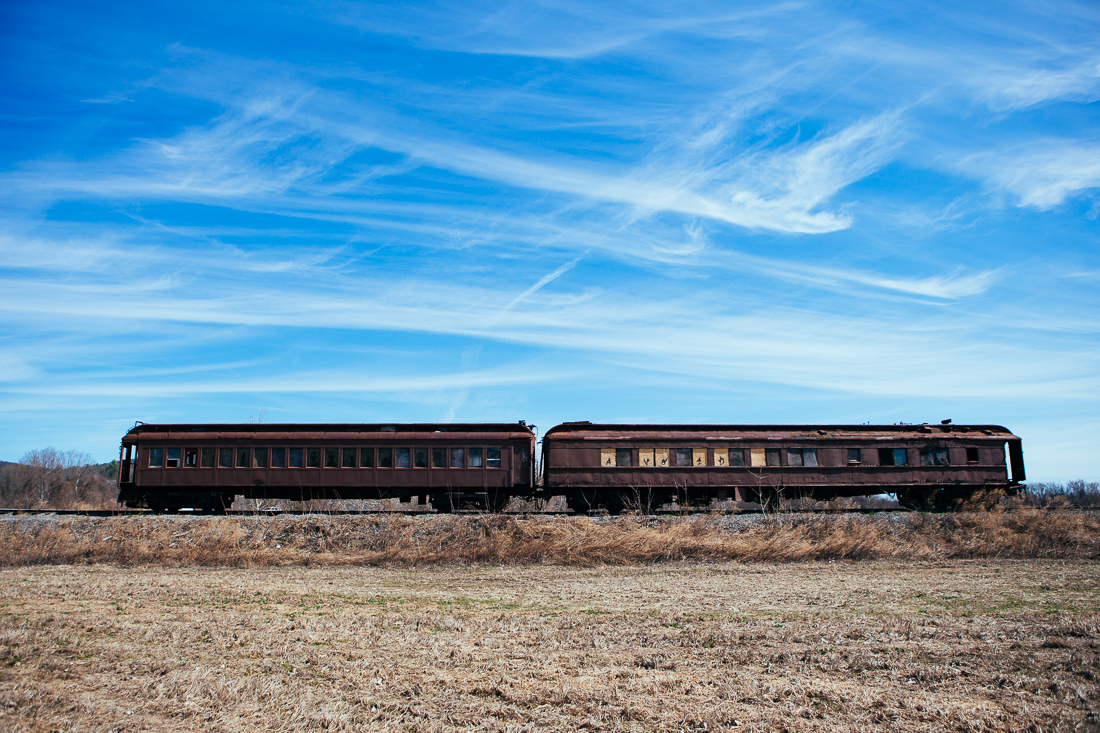 I pulled off the road to check out this abandoned train, which looks to be the dining cars.