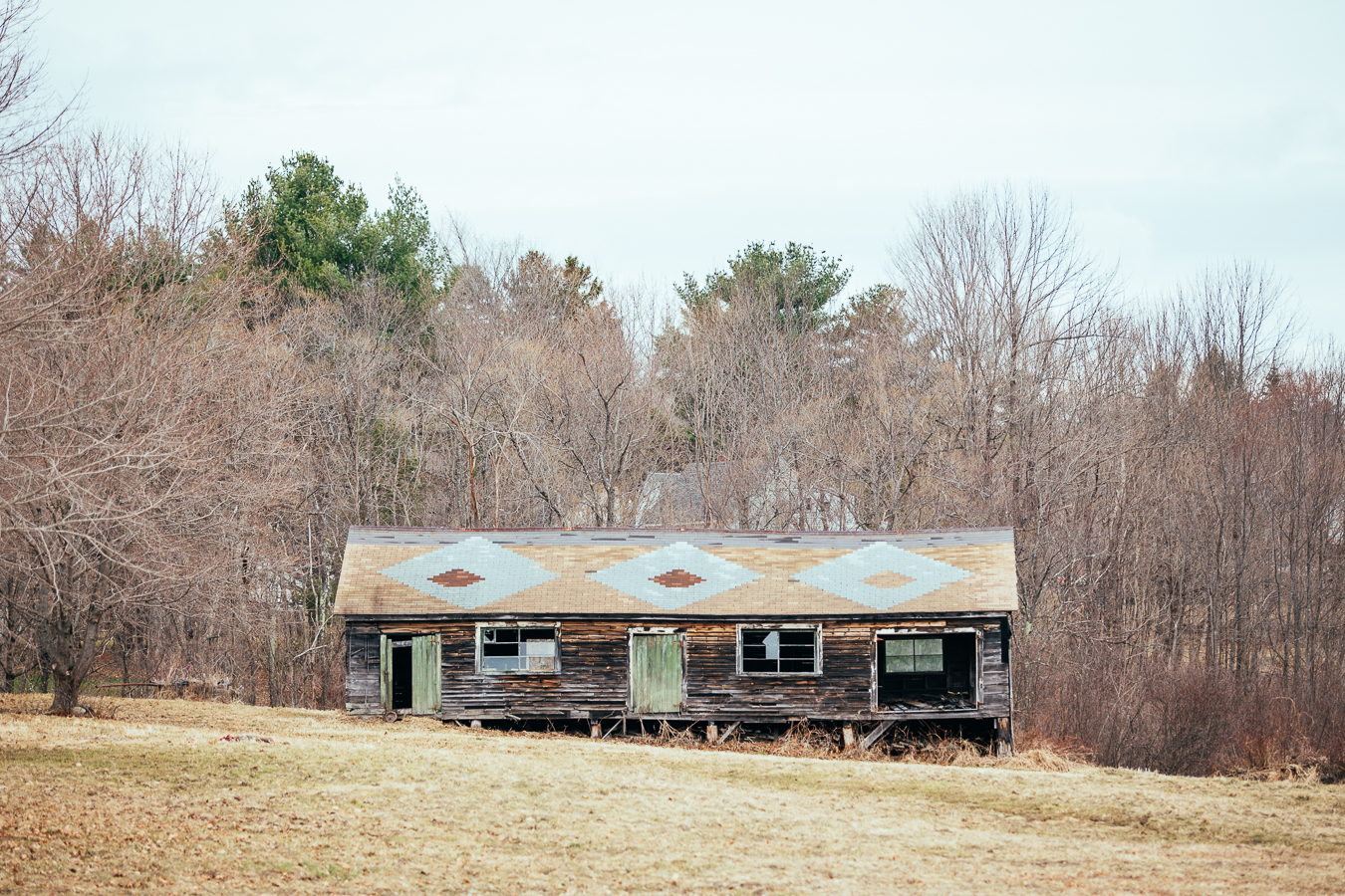 Out in the countryside was this decaying home, with a seriously cool roof.