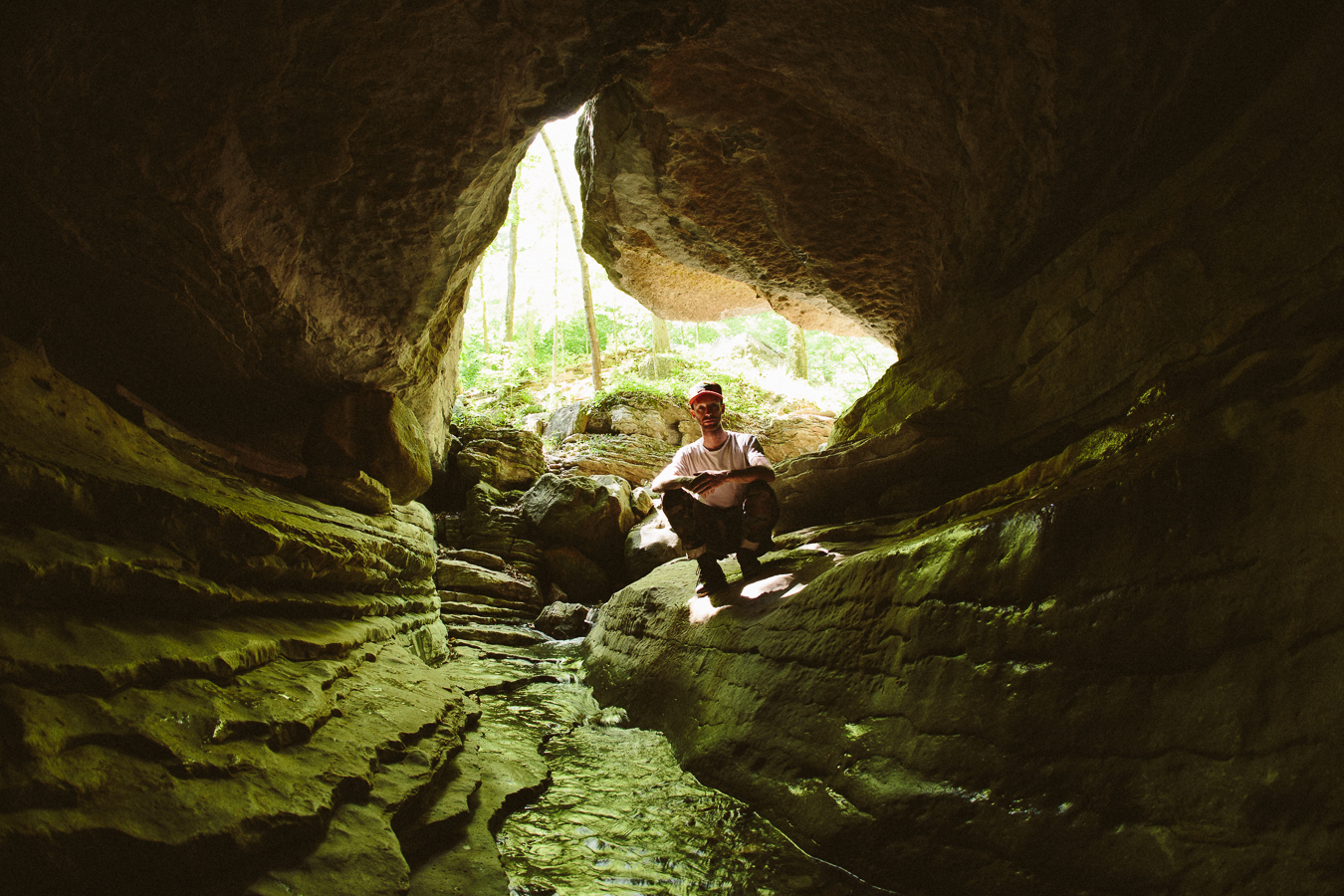 This cool little cave got me warmed up for the main spot further alongthe creek.