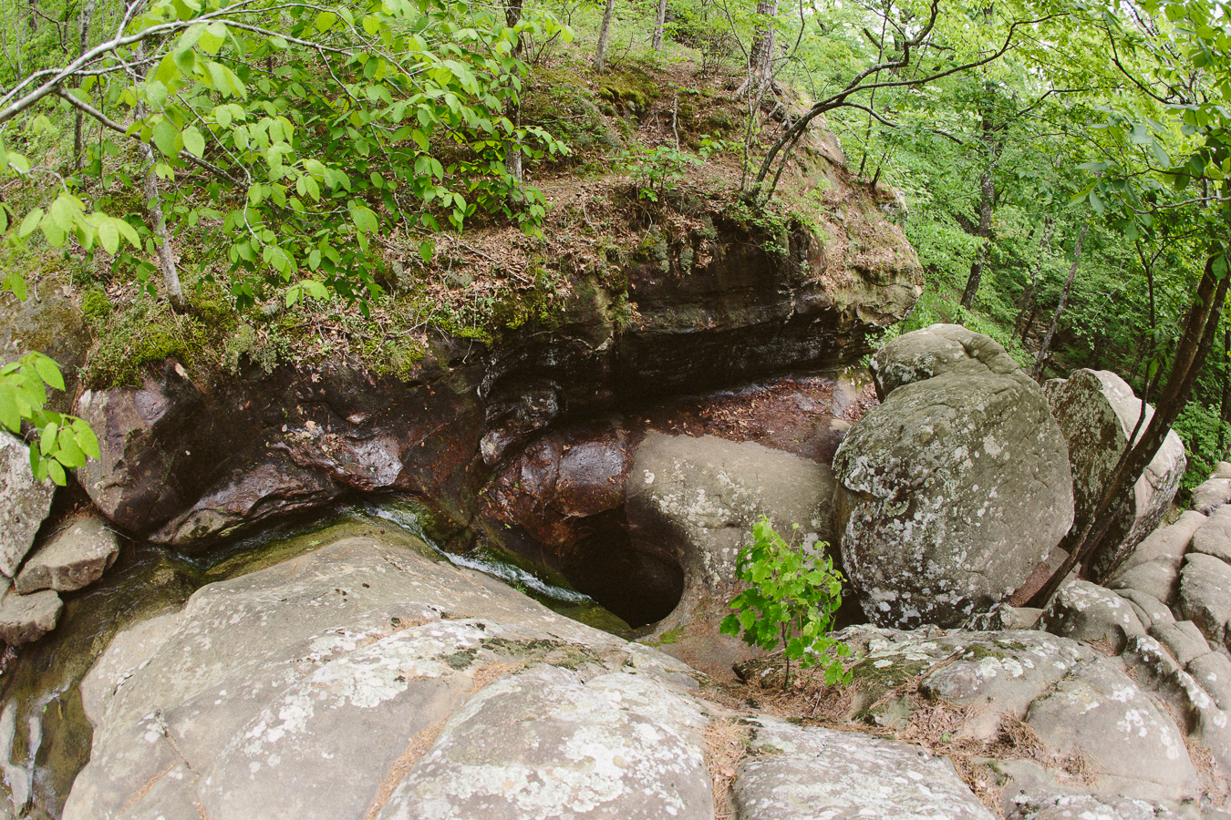 Over the centuries this creek's flow has drilled a hole straight through the rock-NEATURE.