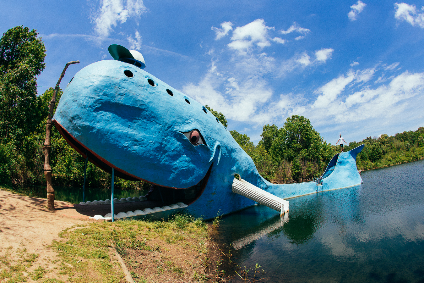 The Blue Whale of Catoosa. Once upon a time this used to be a popular swimming hole,you could slide down it's fins or dive off the tail.