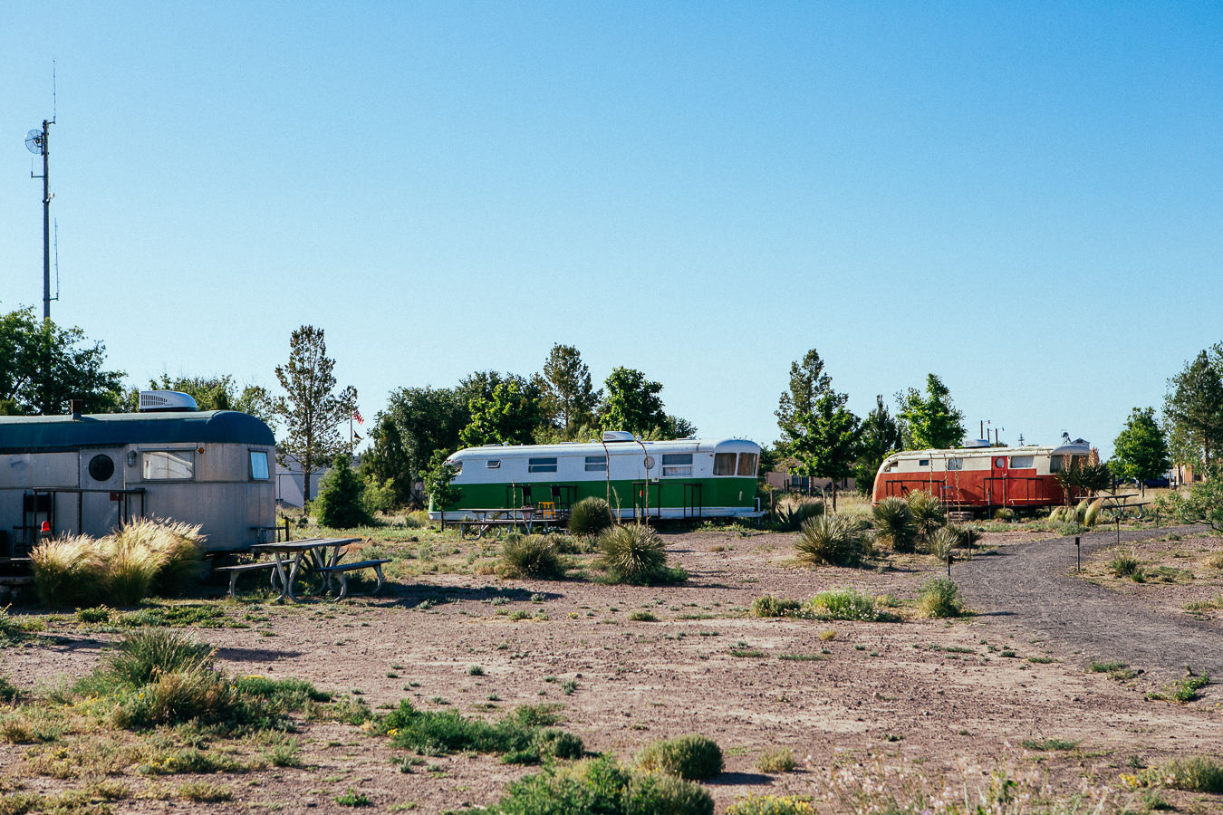 """Everybody was telling me I had to visit Marfa saying howcool it was. Maybe on a holiday, but this place was really lacklusterwhen I came through.The only interestingthing was this """"motel"""" that isa bunch of rad old trailers and teepees to camp in."""
