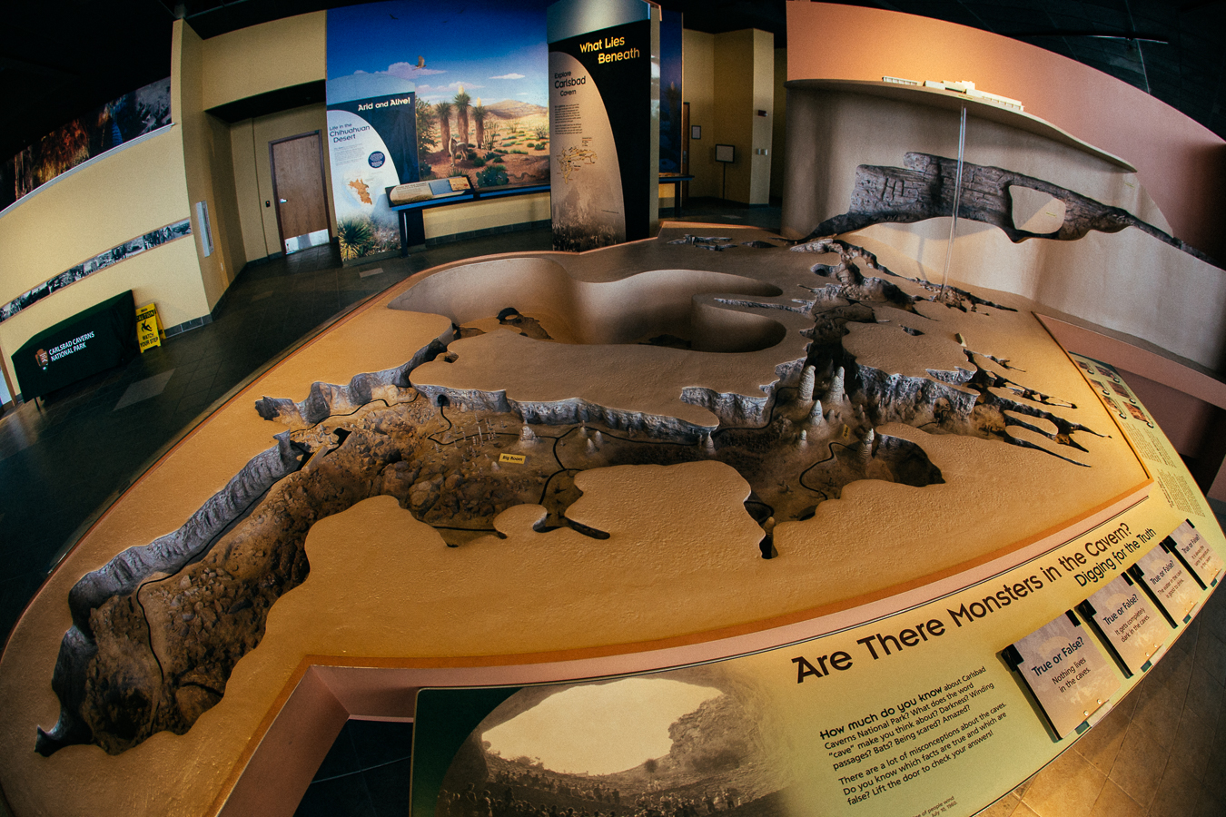 1st stop, the massive Carlsbad Caverns. This model shows the entrance on the far far right descending into the cave. I didn't take the elevator and hiked back out, which was about3ish miles round-tripall underground.
