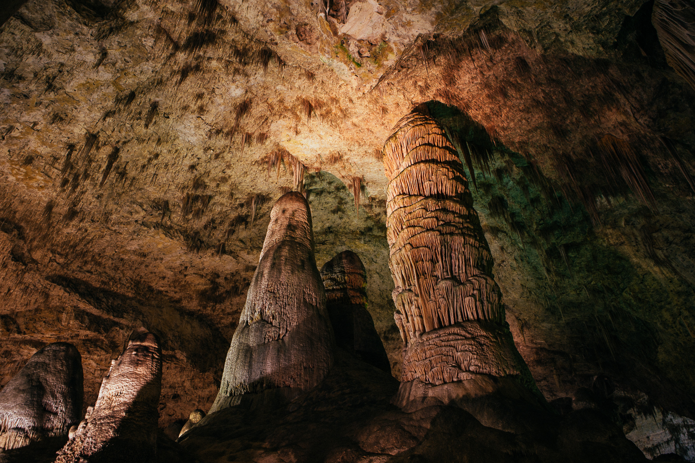These stalagmites are HUGE, nearly60' tall!