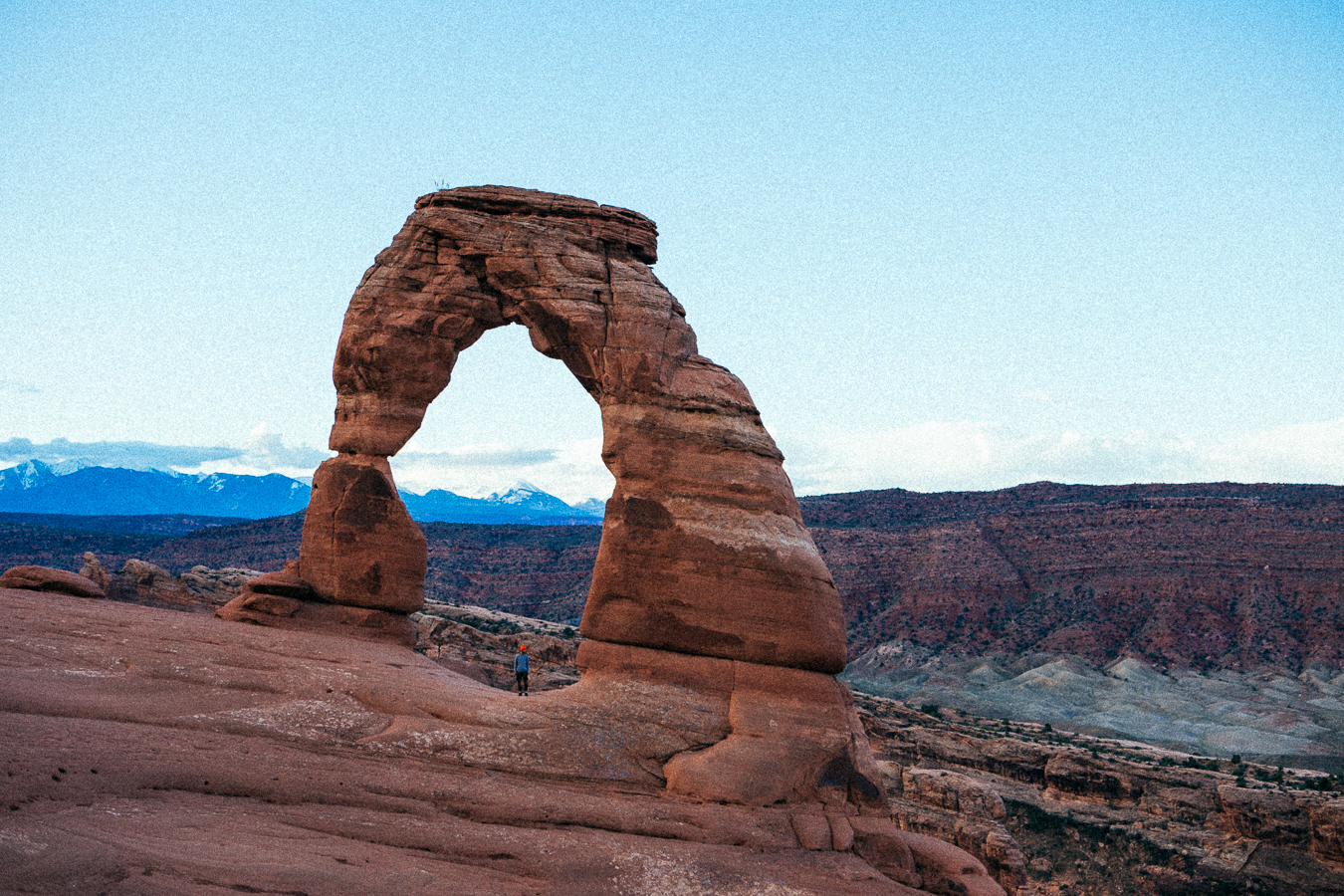 Minutes before sunrise right up under the Delicate Arch. I hiked up here in the dark to avoid the hundreds of tourists that would arrive later in theday.