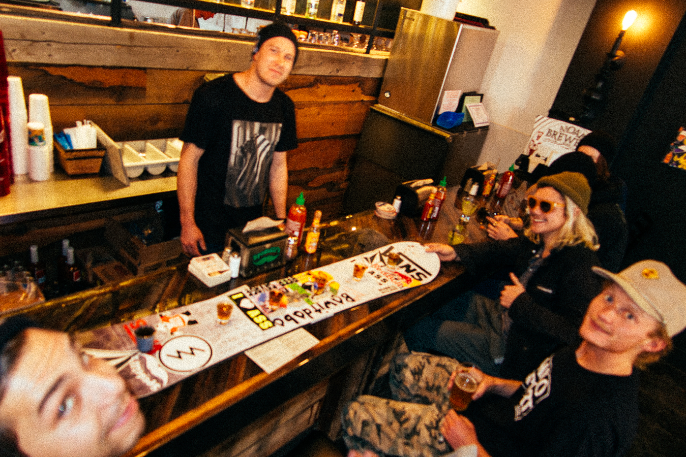 I finally got to check out the  Spedellis restaurant , and partied with my former Arnette riders Ben Bogart and Ben Bilodeau. Aaron Biittner poured up some drinks on Pat Moore's 'shot-board' to start up the good times.