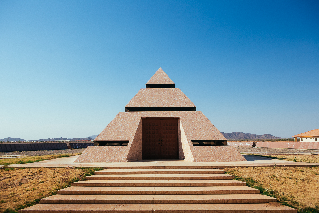 This pyramid houses the self-proclaimed 'Center of the World' point. Nobody was around to unlock the door, oh well close enough.