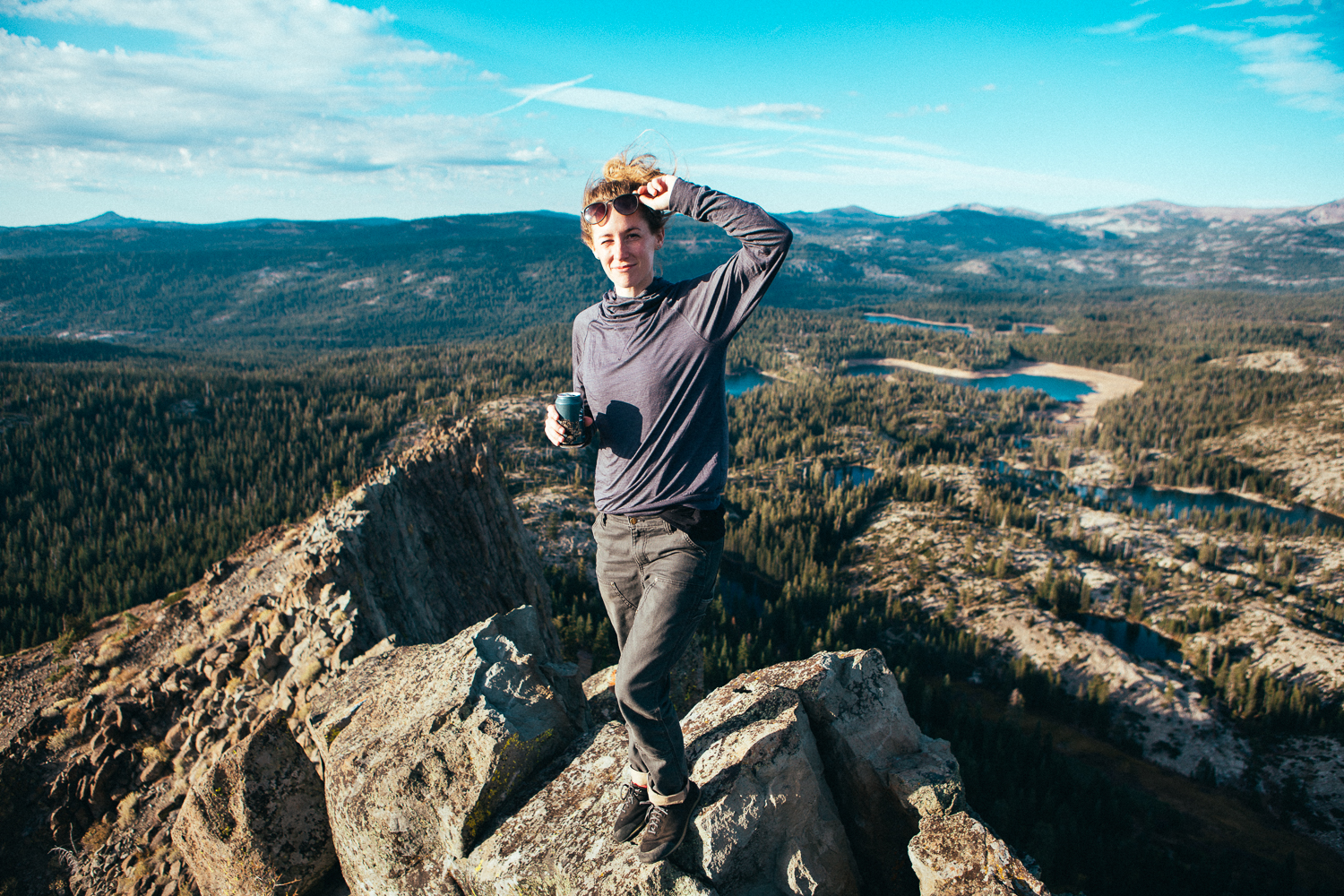 Since I feel like it's my new mission to find cliffs and photograph them, Leslie  and I hiked up to Donner Summit and climbed Devils Peak. This drop is 'only'a couple hundred feet right behind her though... child's play.