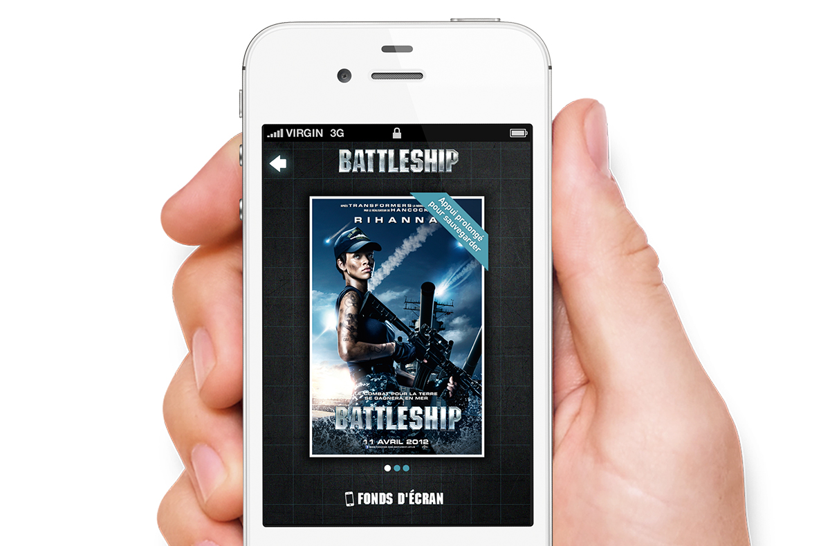 Each app came with branded mobile wallpapers. Here is the French version of the Battleship iPhone app.