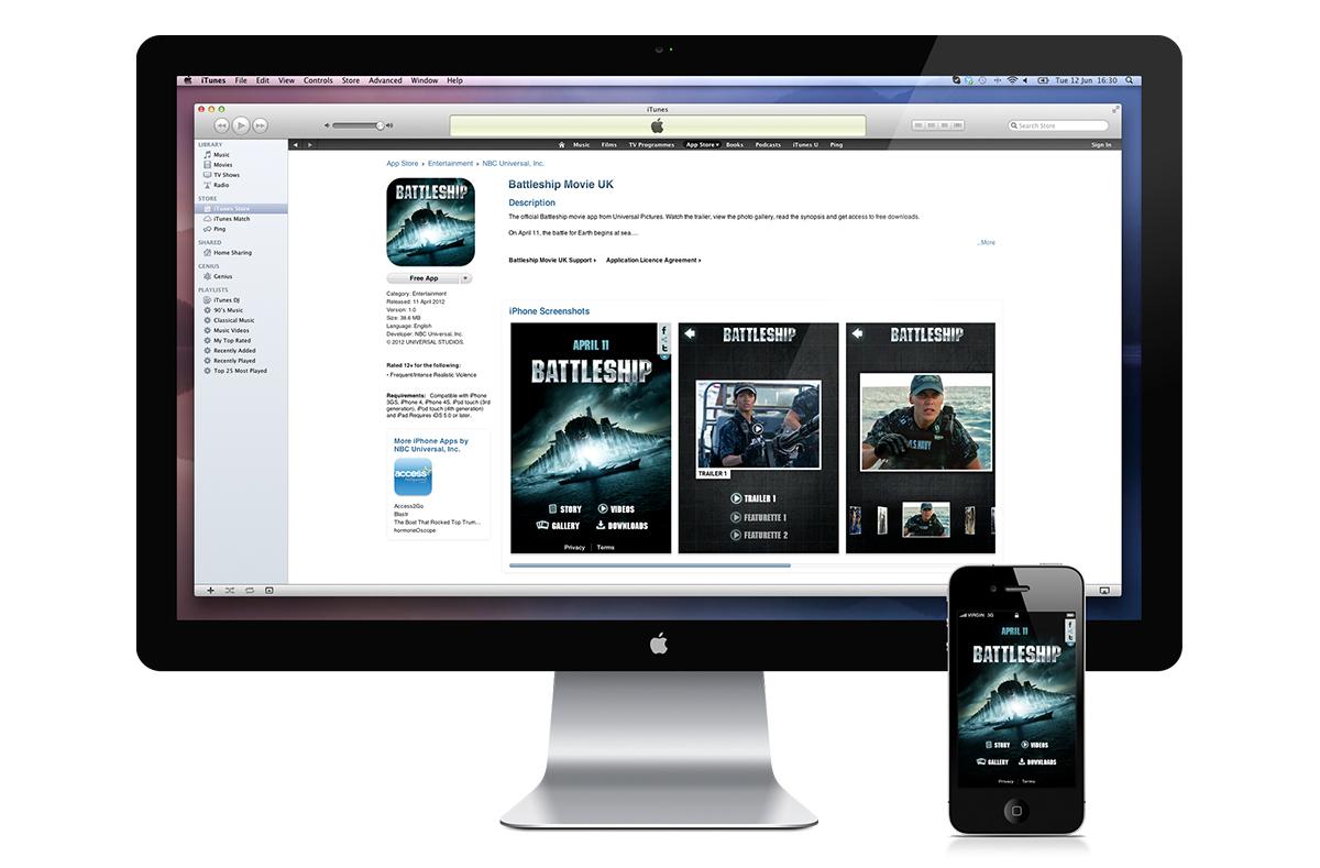 Apple app store Battleship download screen.