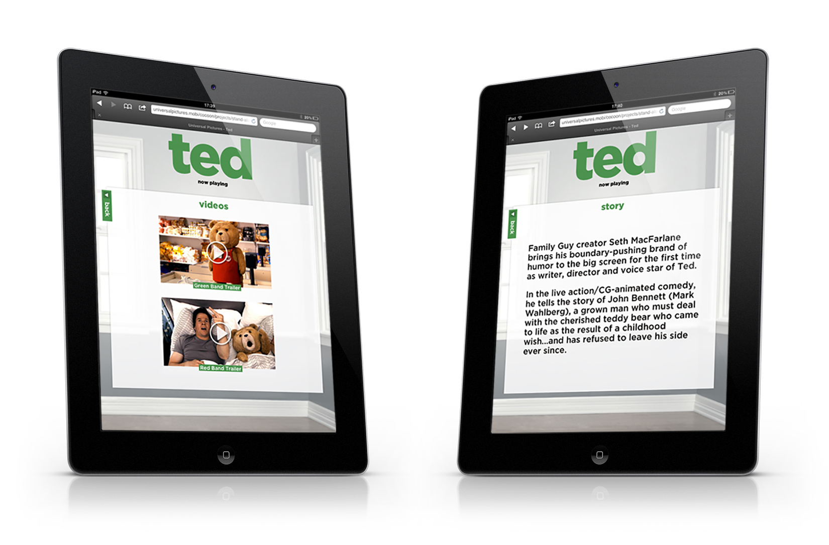 iPad: movie trailers and story screens.