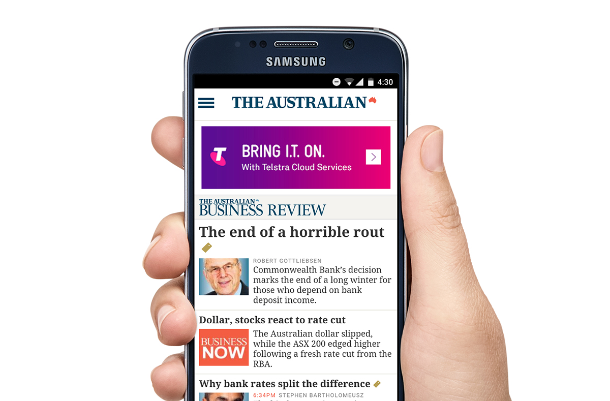 Mobile banner ad on The Australian.