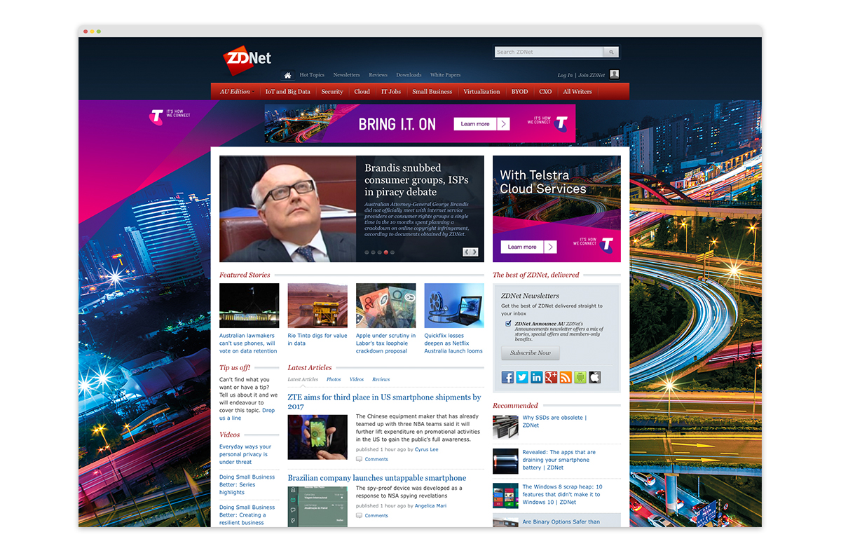 MREC and leaderboard banner ads + full page takeover on Zdnet.