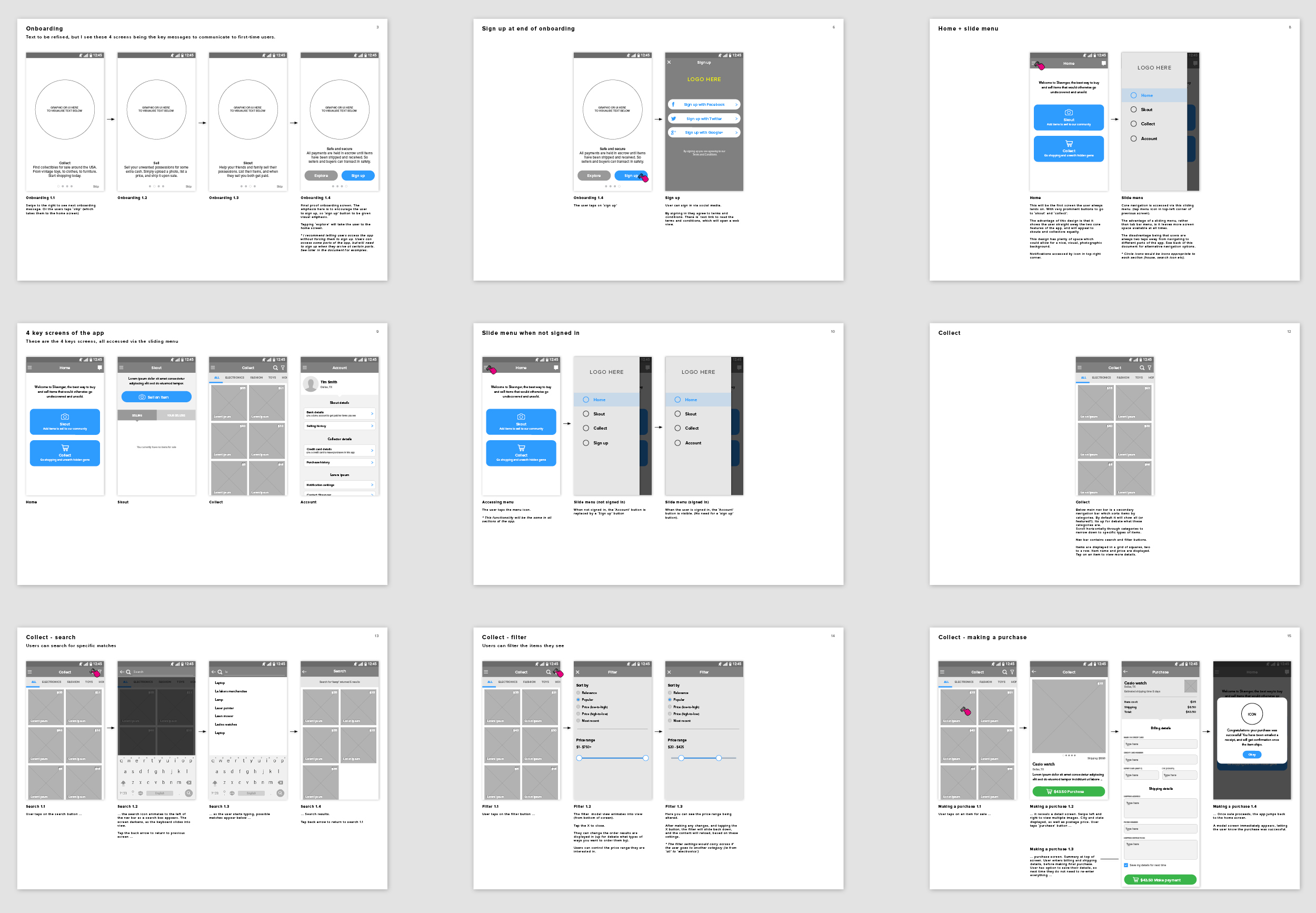 Some pages from the initial Android wireframes document.