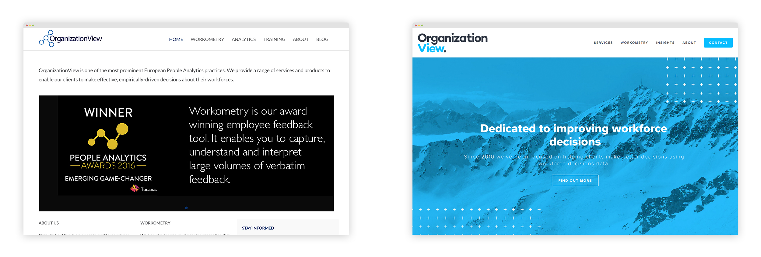 On the    left is the old    homepage for OrganizationView, on the    right is the new   , redesigned version.