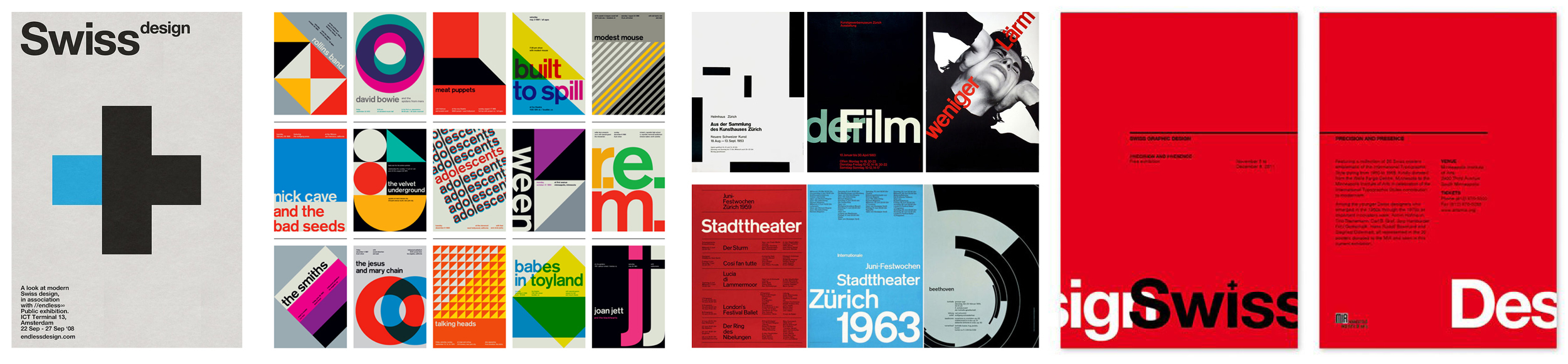 Some examples of Swiss design compiled during the research phase.
