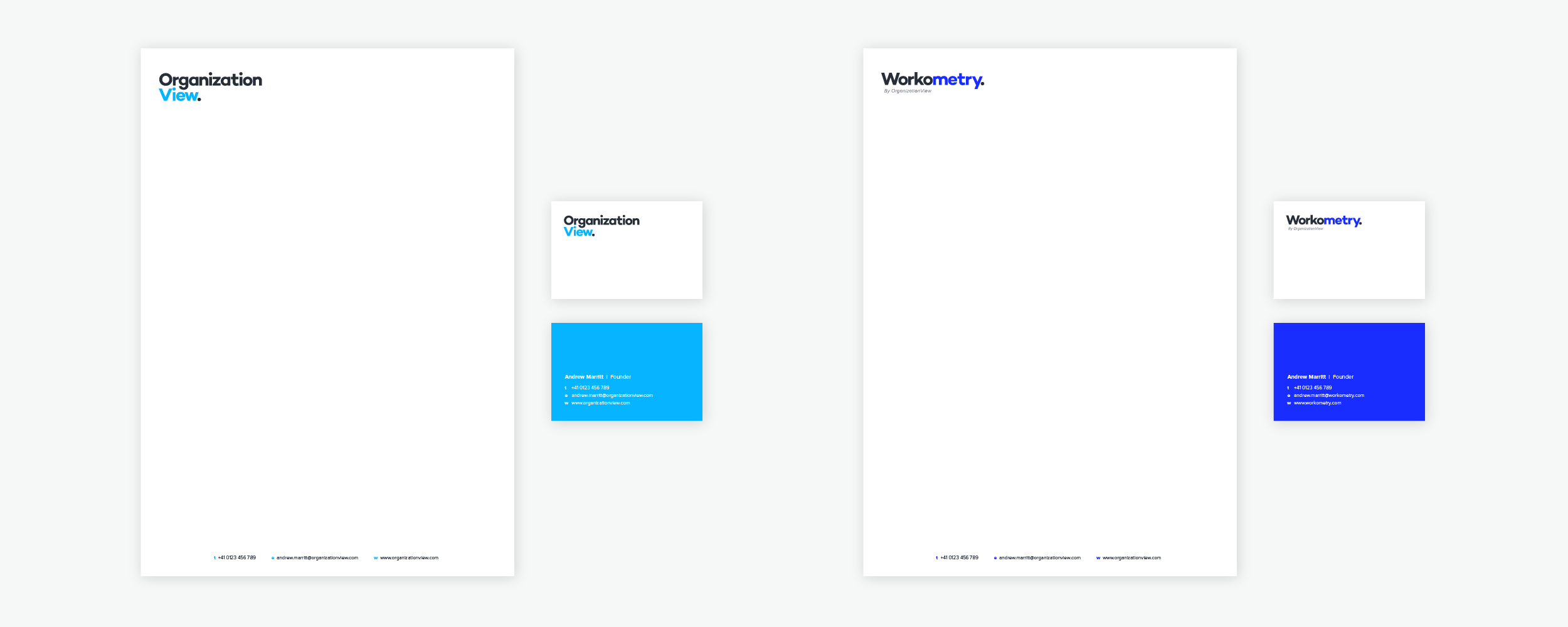 Stationery for OrganizationView and Workometry.