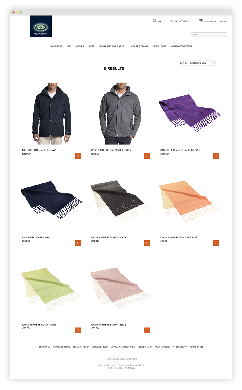 Search results page: here you can see some of the types of products for sale on the site including jackets and scarves.