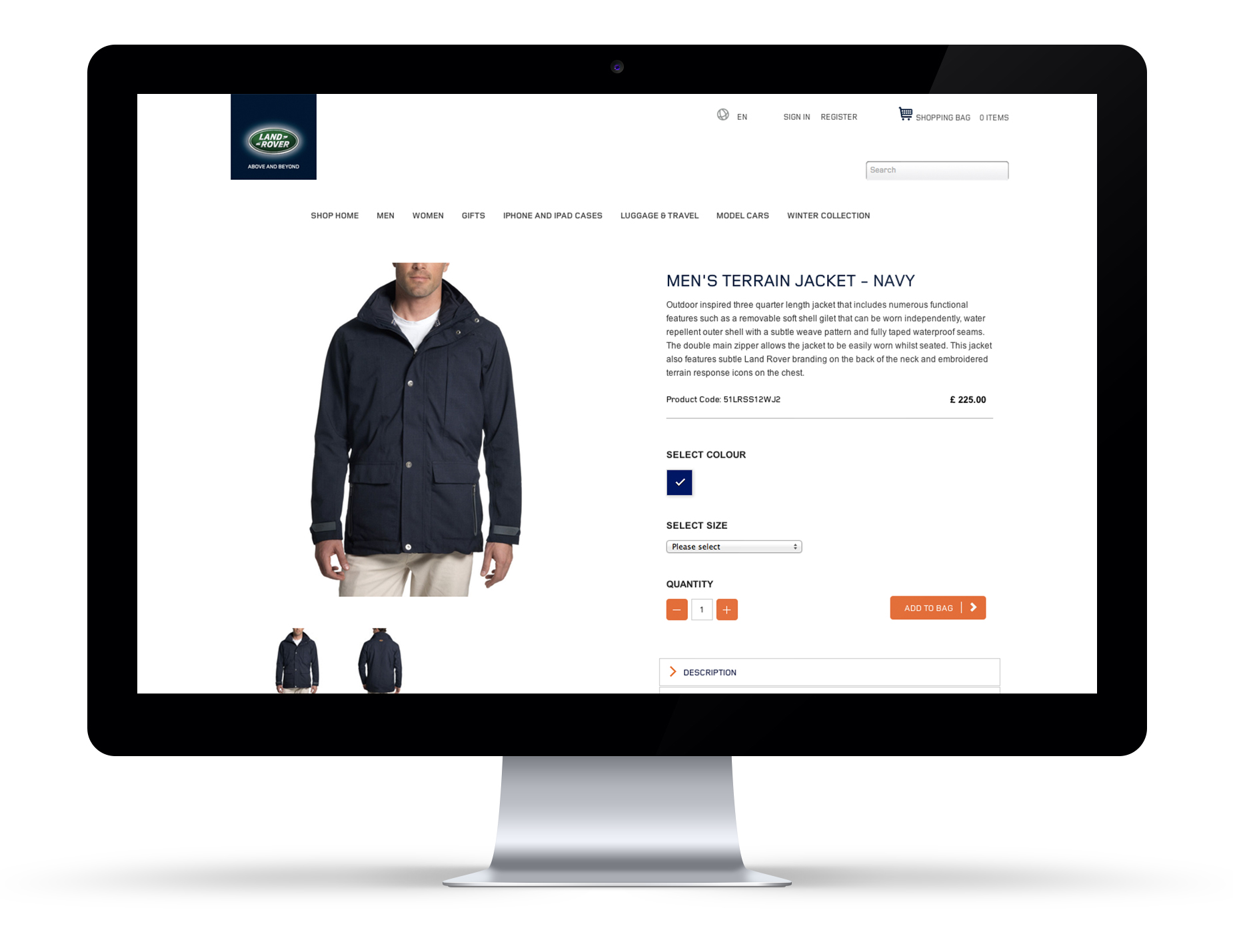Product detail page.