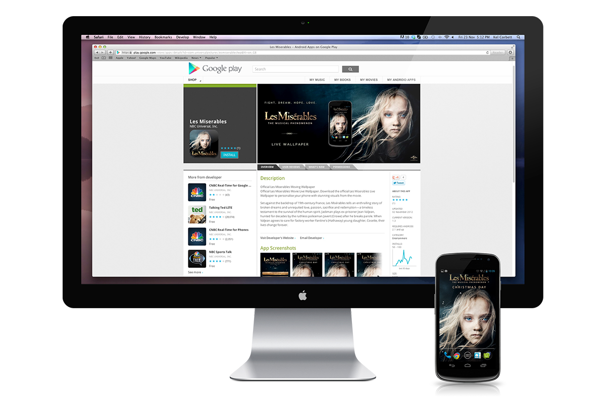 Google Play  Les Misérables  download screen.