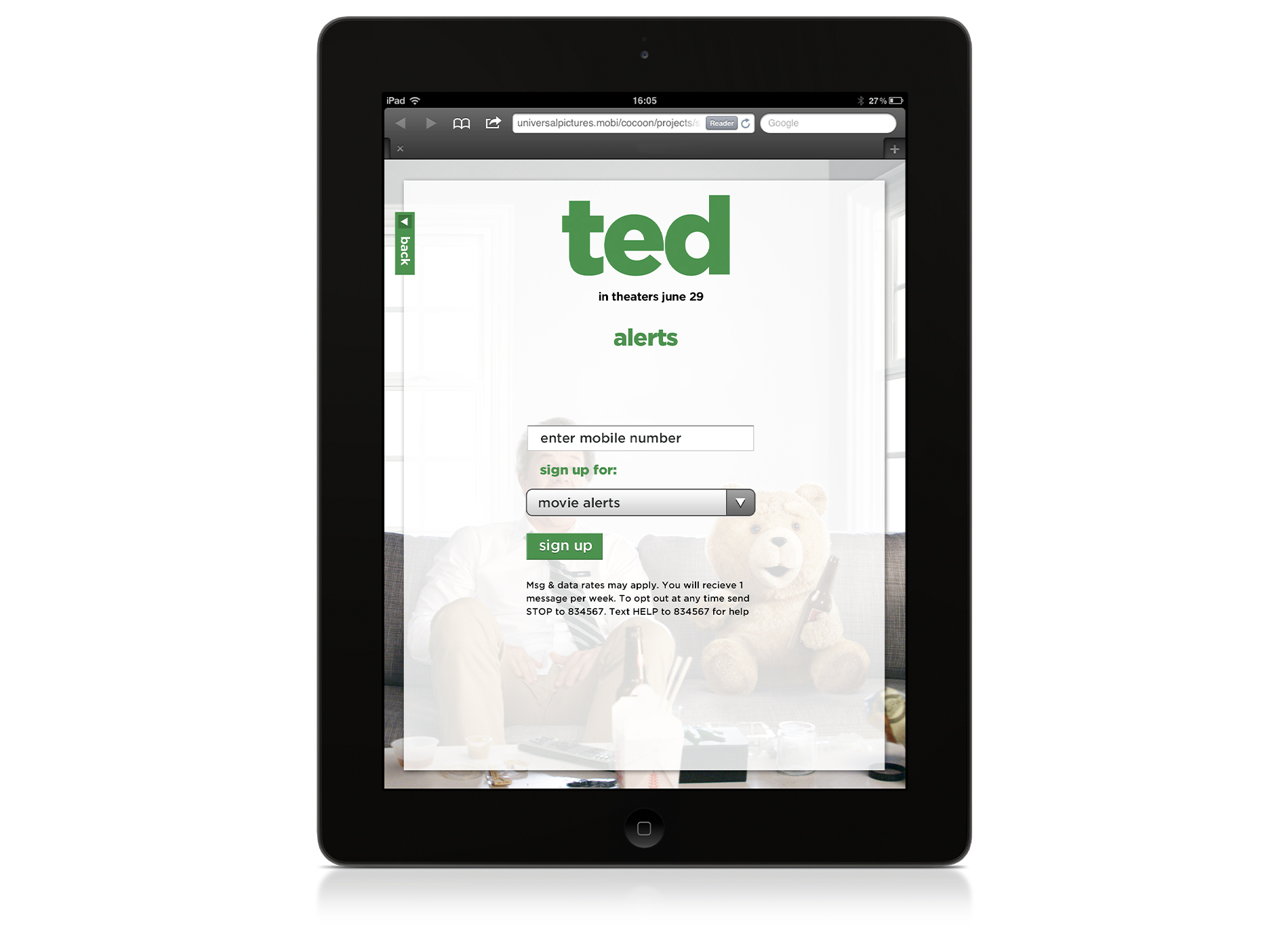 iPad: sign up for mobile alerts.