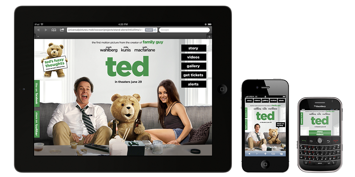 Our agency made different versions of the website targeted to work for iPads, smartphones and feature phones.